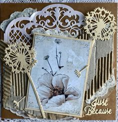 For my first card I used assorted dies,cardboard and craft paper as well as old lace closeup For my second card I titled i. Easy Cards, I Card, Card Making, Paper Crafts, Garden, How To Make, Fun, Garten, Tissue Paper Crafts