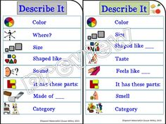 Speech Therapy. Visual prompt for describing objects. Prompts student for attributes of different types. Great for children w/ language delays, autism, special education classroom. #speechtherapy #autism