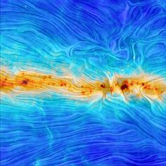 """According to the European Space Agency, this Planck spacecraft-captured image reveals the shape of the Milky Way's magnetic field. And, we might add, it looks oddly reminiscent of Vincent Van Gogh's """"Starry Night""""."""