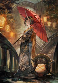 黒い雨赤い傘 今日はちょっと和風な感じに