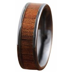 6mm black ceramic wedding band with natural koa wood inlaid through the center…