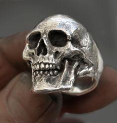 Skull ring Large size full jaw silver mens skull biker masonic rock n roll gothic handmade jewelry etsy - jewelry mens chains, cheap mens jewelry stores, mens silver jewelry Viking Jewelry, Gothic Jewelry, Unique Jewelry, Handmade Jewelry, Boho Jewelry, Women Jewelry, Mens Skull Jewelry, Mens Skull Rings, Memento Mori