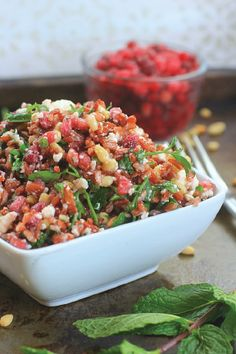 Fresh, fast, and delicious, this Red Jasmine Sprouted Rice Salad with Pomegranate, Feta, Pine Nuts, and Fresh Herbs is a healthy side or main dish to enjoy over winter break, and all year long!
