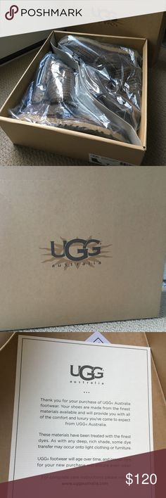 ugg australia classic cardy UGG australia - BRAND NEW, NEVER WORN and seeking a customer that appreciates uggs! Classic Cardy style has the aesthetic of a favorite sweater with the styling and production of the UGG boot.  Functional buttons allow you to wear boot all the way up, unbuttoned and cuffed, or slouched down.  Treadlite by UGG sole for cushion, traction, & durability. Wool & Acrylic shell material, suede heel, wood buttons WOMENS SIZE 7  CLASSIC CARDY 5819/ MOSS COLOR - MORE OF A…
