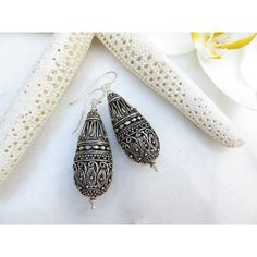 Handcrafted Bali Sterling Silver Earrings, Sterling Silver Large Boho... ($110) ❤ liked on Polyvore featuring jewelry, earrings, inspiredby10, boho earrings, silver bead earrings, tribal earrings, dangle earrings and teardrop earrings