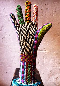 Huichol Mexican Art inspired: Papier Maché hand decorated with beads