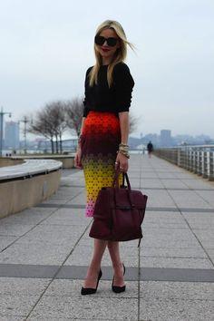 Cute colourful skirt.