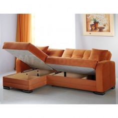 Eye Catching Orange Fabric Wrap Upholstery Sectional Sofa With Hidden Storage