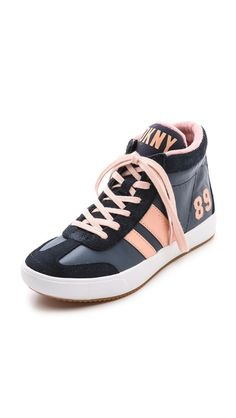 DKNY Kooper High Top Sneaker Shoes in Navy Blue and Pink