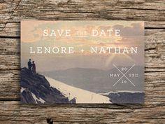 Cute for a winter wedding! Mountain Sunset Postcard Save the Date // Winter Wedding Invitation Rustic Colorado Destination Wedding