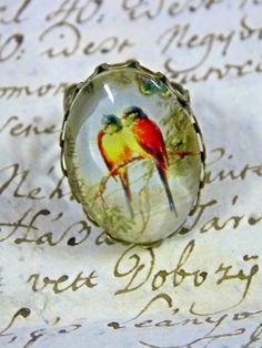 Bird pendant Bird ring adjustable ring bronze by AgnesJewelries