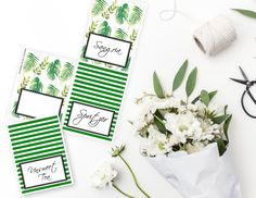 Printable Green and White Food Buffet Cards, Stripe Printable Party Table Tent Cards, Greenery Printable Labels by sunshinetulipdesign on Etsy