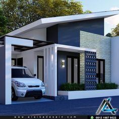 Minimalis House Design, Small House Exteriors, Home Designer, 3d Home, Story House, House Front, Home Improvement, Sweet Home, Villa