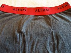 Men's ALFANI Boxer Underwear Sz M Dk. Gray /Red Trim Color 100% Combed Cotton  #Alfani #BoxerBrief