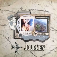 """""""Journey"""" layout by Leonie Neal-Dawson Design Team for Kaisercraft using 'Just Landed' collection."""