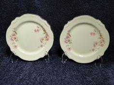 $11.99 Homer Laughlin Virginia Rose w/Plat Tr Dessert Salad Plate Mose Rose JJ59 TWO #HomerLaughlinVirginiaRose