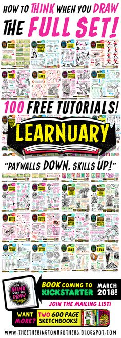 For those of you that like everything neatly organised, here's links to EVERY ONE of my first 100 how to THINK when you draw TUTORIALS , in...