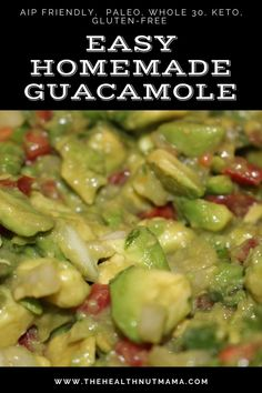 This Homemade Paleo Guacamole is so easy to make, healthy & delicious! A perfect appetizer that you can make for last-minute entertaining. This dip is AIP friendly, Whole 30, Keto & Gluten-Free! I… Best Paleo Recipes, Whole Food Recipes, Free Recipes, Paleo Appetizers, Appetizer Recipes, Paleo Sauces, Homemade Guacamole, Quick Healthy Breakfast, Organic Recipes