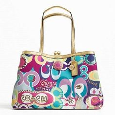 Coach Signature Print Framed Carryall F19439. Starting at $50 on Tophatter.com!