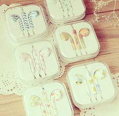 Simple and colorful earbuds. The patterns are so cute. This would be an upgrade compared to the pitch black and dark blue earbuds I got for Christmas.