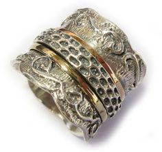 Designed and decorated ring,israel spinner ring,meditation ring,silver and gold ring