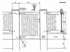 Bild 2: Gartentor - technische Zeichnung.