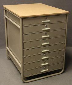 Cf pease ten drawer flat file blueprint cabinet dort motor car vintage metalsteel 9 drawer art cabinet desk mid century modern industrial malvernweather Gallery