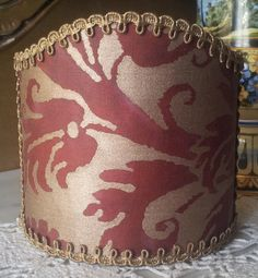 Wall Sconce Clip-On Shield Shade Fortuny Demedici in Red and Silvery Gold