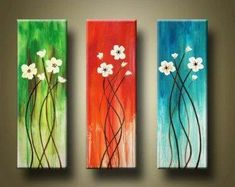 Easy Flower Painting, Acrylic Painting Flowers, Hand Painting Art, Online Painting, Abstract Flowers, Flower Paintings, Paintings Online, Painting Canvas, Art Floral