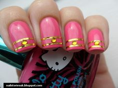 Pink Nails with Gold Striping Tape and Rhinestones Us Nails, Gold Nails, Pink Nails, Hair And Nails, Fancy Nails, Pretty Nails, Studded Nails, Touch Of Gold, Pink Summer
