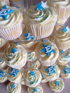 Star themed boys Christening cupcakes