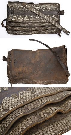 Ottoman leather weapons belt (selahlik / silahlik) worn throughout the Ottoman Empire, made from layers of leather containing slips to hold a yatagan sword and other weapons.
