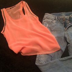 Sheer peach tank top - gifted Worn once. Beading at shoulders. Super cute! Love Culture Tops Tank Tops