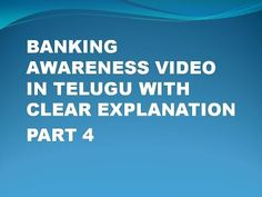 Banking Awareness Video In Telugu Part 4 With Clear Explanation - YouTube
