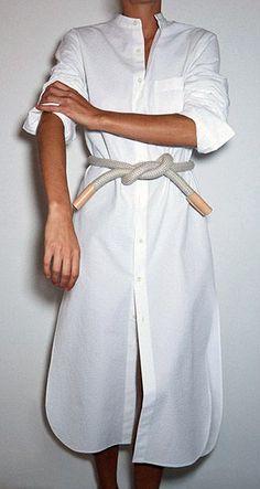 Shirt dress + rope belt