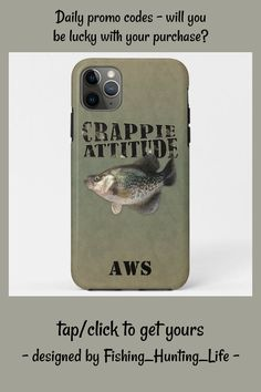 Crappie Attitude Fishing iPhone 11 Pro Max Case #crappie #white #crappie #fishing #angler #iPhone11ProMaxCase