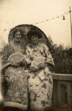 Two women in Japanese dress - LovedayLemon Edwardian Era, Victorian, Vintage Style, Vintage Fashion, Vintage Kimono, Silk Kimono, Kimono Fashion, Geisha, Chinoiserie