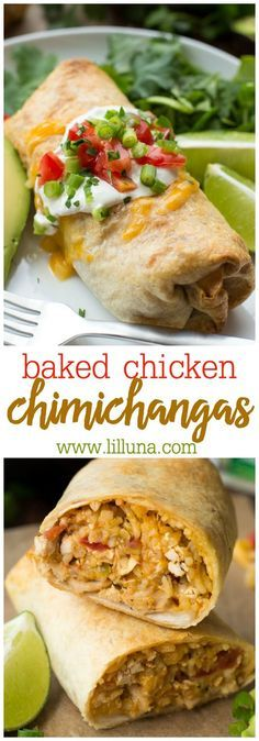 Baked Chicken Chimichangas - stuffed with rice, chicken, cheese and more. Such a simple dinner recipe that everyone will love. Lil' Luna