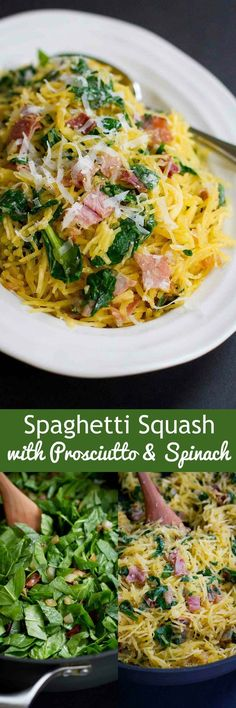 This savory Spaghetti Squash with Prosciutto and Spinach is wonderful either as a side dish or light lunch. 116 calories and 2 Weight Watchers SmartPoints