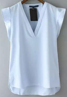 Blue V Neck Short Sleeve Casual Blouse -SheIn(Sheinside)