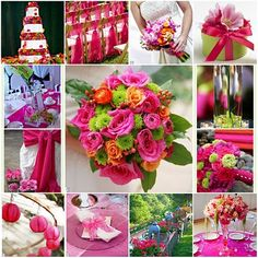 pink and green love centerpiece and bouquet!!