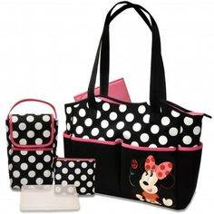Take fashion further with the Minnie Mouse 5-in-1 diaper bag set. Featuring a cute Minnie Mouse appliqué, bold black & white polka-dots with popping pink trim, this versatile diaper bag set includes a large tote, bottle bag, pacifier pouch, changer, and clear wipes case. The tote has large, practical compartments and convenient carrying straps. Store your sundries, toys, and snacks in style!