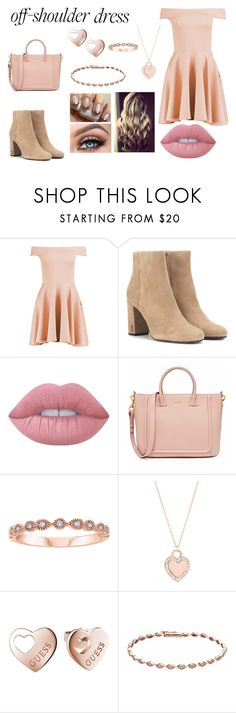 """""""Off-Shoulder Dress"""" by teenwolfmoosic ❤ liked on Polyvore featuring Boohoo, Yves Saint Laurent, Lime Crime, GUESS and LC Lauren Conrad"""