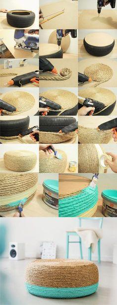 Puf DIY con cuerda y reciclando neumático - dawanda.com - DIY Tire Rope Puff - #decoracion #homedecor #muebles