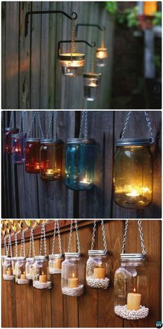 Hanging Mason Jar Lights, Mason Jar Lighting, Diy Hanging, Diy Fence, Backyard Fences, Fence Ideas, Patio Ideas, Wooden Fence, Cedar Fence