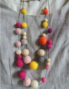 DribbleGems Everyday Felt Wool Ball & Natural Wooden Bead Mix Necklace Handmade Perfect Versatile Accessory Gift Two Colours $25