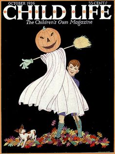 Fall Leaves and JOL Fun---Vintage Halloween Child Life Magazine Cover
