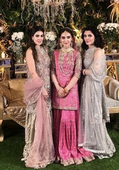 Nikkah bride with her sisters Pakistani Bridal Couture, Pakistani Wedding Outfits, Bridal Lehenga, Pakistani Dresses, Wedding Attire, Indian Dresses, Walima Dress, Engagement Dresses, Girls Fashion Clothes