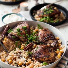 One Skillet Baked Chicken Shawarma and Rice (Pilaf)