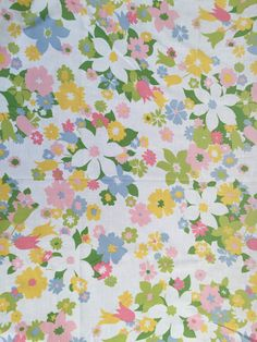 60's Cannon Monticello Twin Flat Sheet Fine Muslin- White with Mixed Spring Flowers by ElkHugsVintage on Etsy